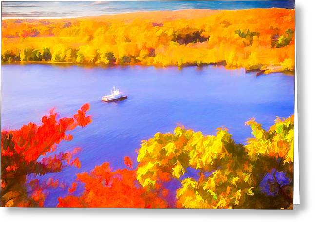 Ferry Crossing Connecticut River. Greeting Card