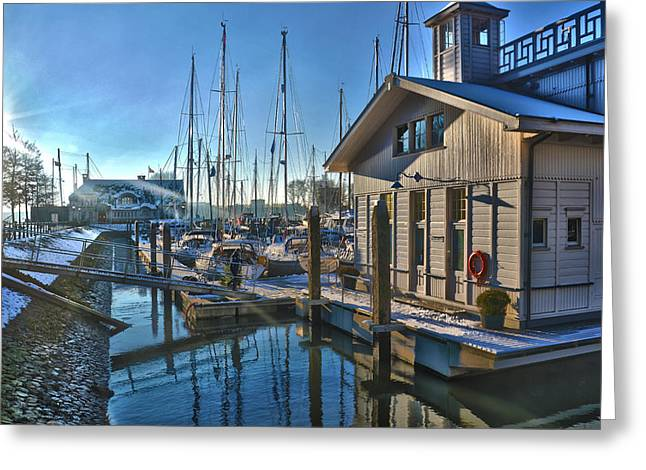 Ferry Harbour In Winter Greeting Card