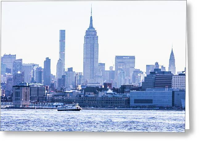 Ferry Heading Down The Hudson Greeting Card