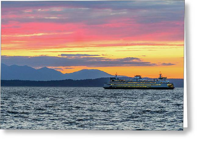 Ferry In Puget Sound Greeting Card