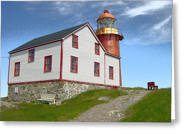 Ferryland Lighthouse Greeting Card by Lorry Heverly