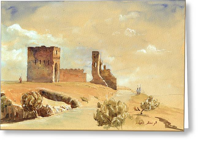 Fes Morocco Orientalist Painting Greeting Card by Juan  Bosco
