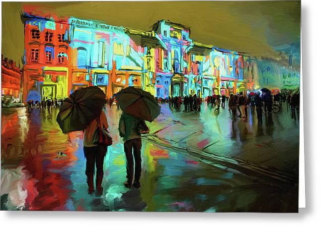 Festival Of Lights, Lyon 1 258 1 Greeting Card by Mawra Tahreem