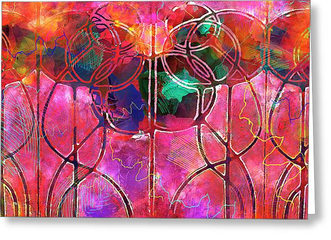 Festive Balloons - Vintage Art Nouveau Abstraction Greeting Card by Rayanda Arts