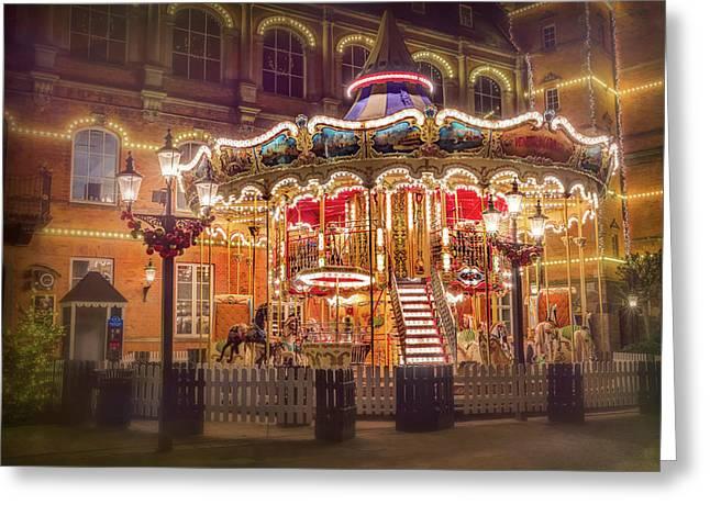 Festive Carousel Tivoli Gardens Copenhagen  Greeting Card