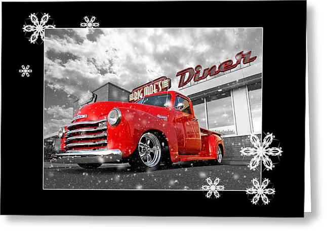 Festive Chevy Truck Greeting Card by Gill Billington