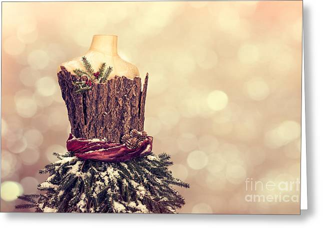 Festive Christmas Mannequin Greeting Card by Amanda Elwell