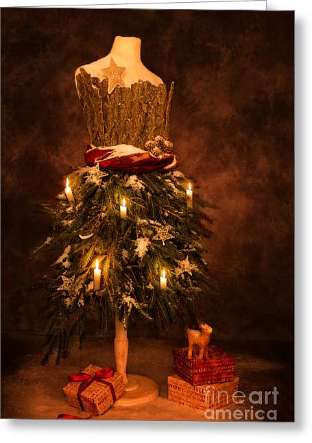 Festive Christmas Vintage Mannequin Greeting Card by Amanda Elwell
