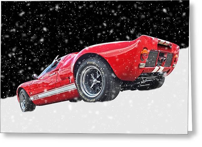 Festive Ford Gt40 Greeting Card by Gill Billington