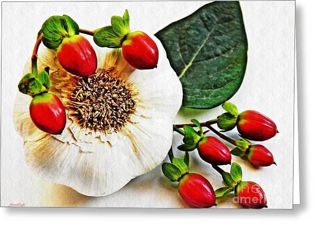 Festive Garlic Greeting Card by Sarah Loft