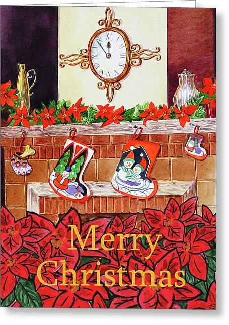 Festive Merry Christmas Card Greeting Card by Irina Sztukowski