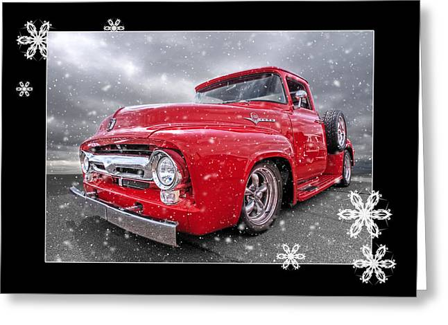Festive Red F100 Greeting Card by Gill Billington