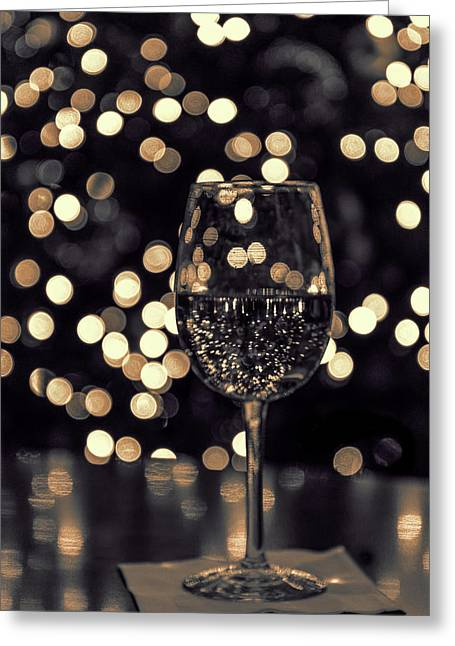 Greeting Card featuring the photograph Festive White Wine by Steven Sparks