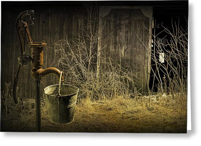 Fetching Water From The Old Pump Greeting Card