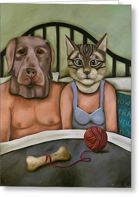Fetish Nightmare 5 How To Train Your Dog Greeting Card by Leah Saulnier The Painting Maniac
