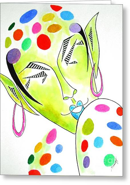Fey -- The Original -- Fantasy Elf Portrait With Polka Dots Greeting Card