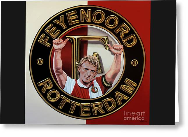Feyenoord Rotterdam Painting Greeting Card by Paul Meijering