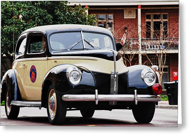Frank Feliciano Greeting Cards - FHP Vintage Ford Patrol Vehicle Greeting Card by Frank Feliciano