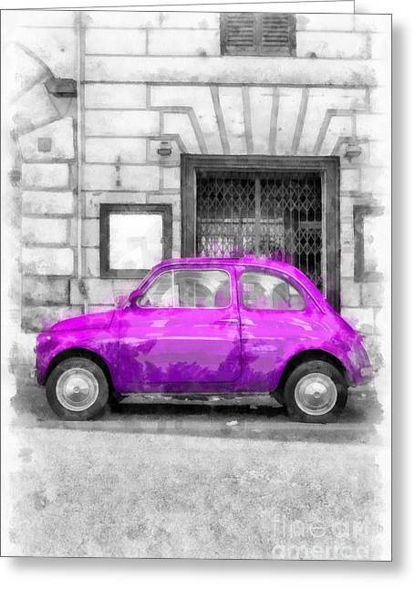 Rome Greeting Cards - Fiat 500 Watercolor Greeting Card by Edward Fielding