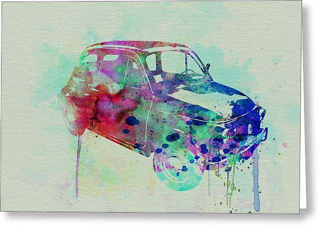 Fiat 500 Watercolor Greeting Card