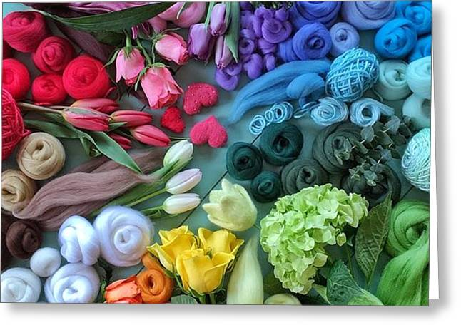 Fibre And Flowers Greeting Card
