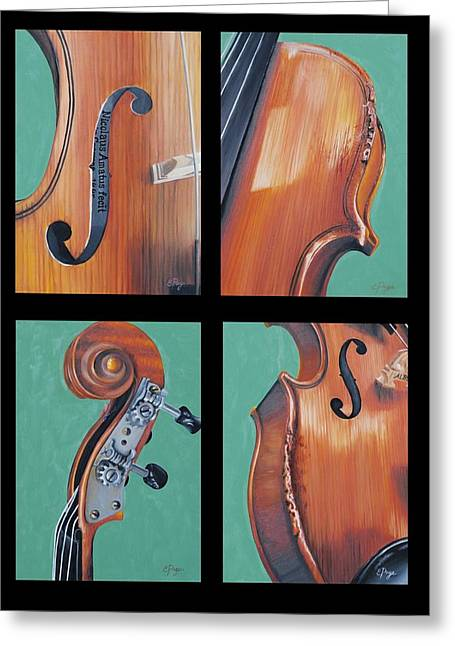 Fiddle Quartet Greeting Card by Emily Page