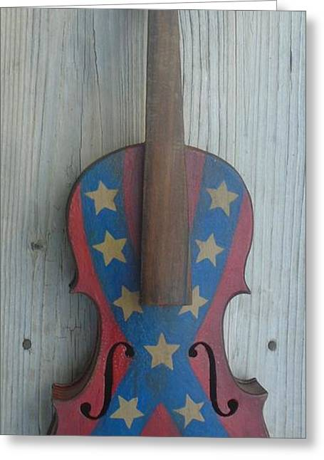 Fiddle Rebel Flag Greeting Card
