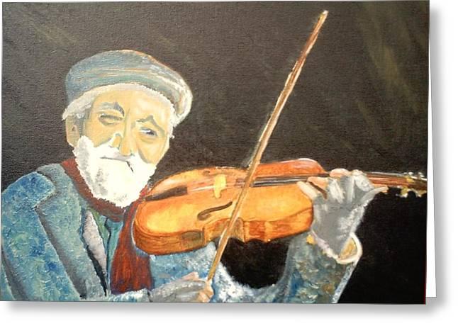 Fiddler Blue Greeting Card by J Bauer
