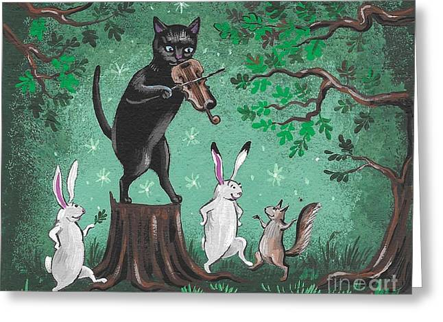Fiddler Of The Forest Greeting Card by Margaryta Yermolayeva