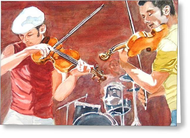 Fiddles Greeting Card by Karen Ilari
