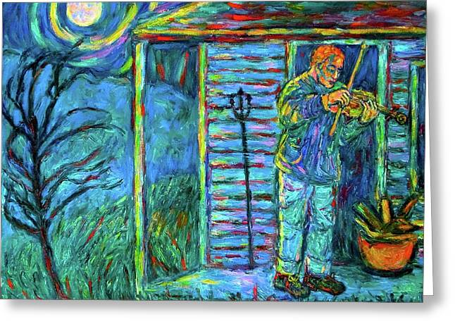Fiddling At Midnight's Farm House Greeting Card