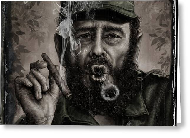 Fidel Castro Greeting Card by Andre Koekemoer