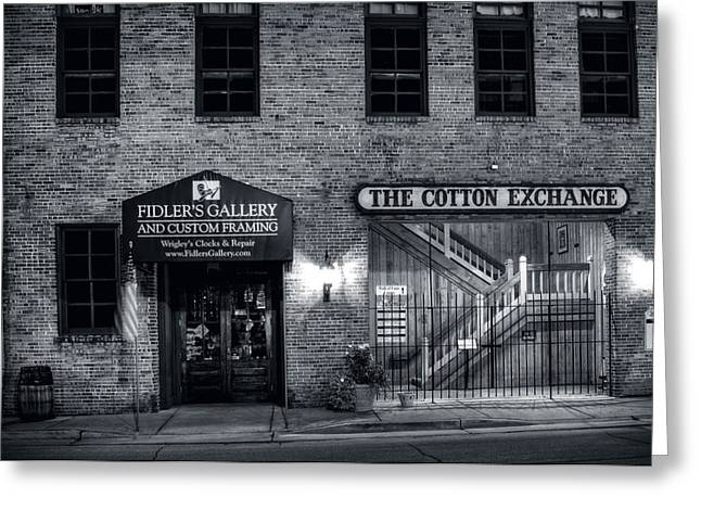 Fidlers Gallery And The Cotton Exchange In Black And White Greeting Card by Greg Mimbs