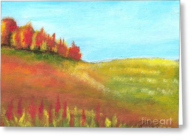Field In Autumn Greeting Card by Vivian  Mosley