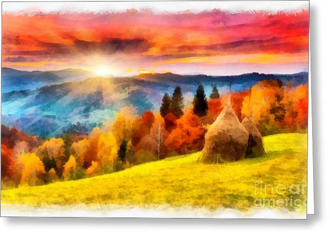 Field Of Autumn Haze Painting Greeting Card