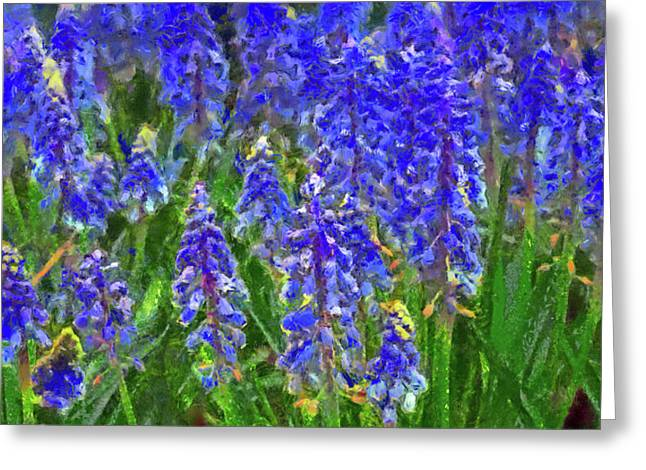 Greeting Card featuring the digital art Field Of Blue by Digital Photographic Arts