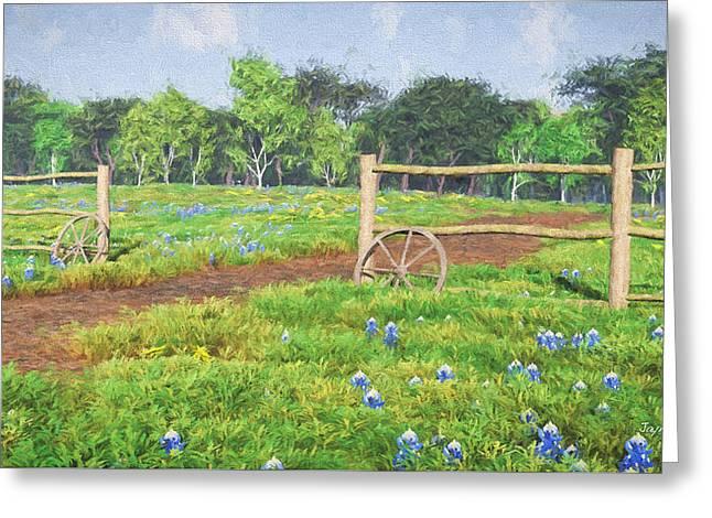 Greeting Card featuring the digital art Field Of Bluebonnets by Jayne Wilson