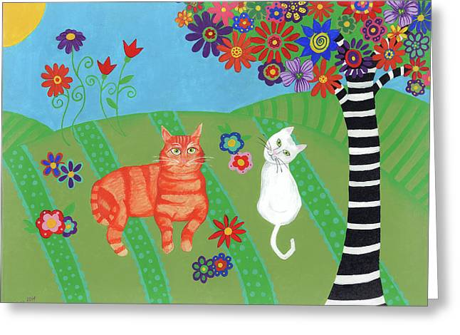 Field Of Cats And Dreams Greeting Card