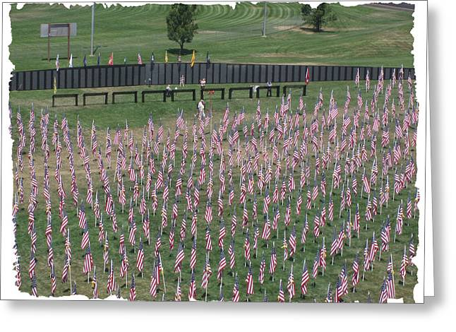 The Cost Of War Greeting Cards - Field Of Flags - GOTG Arial Greeting Card by Gary Baird