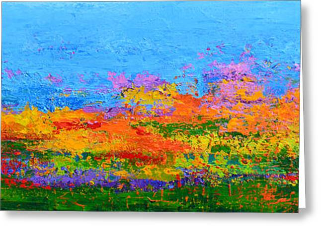 Abstract Field Of Wildflowers, Modern Art Palette Knife Greeting Card