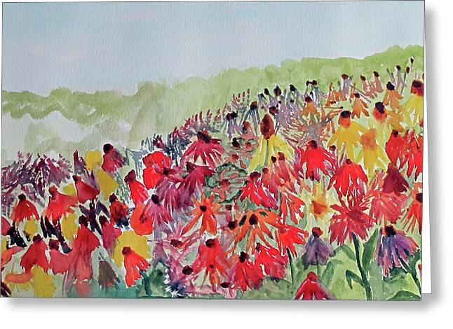Greeting Card featuring the painting Field Of Flowers by Sandy McIntire