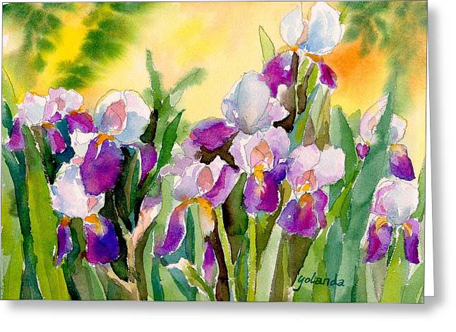 Field Of Irises Greeting Card by Yolanda Koh