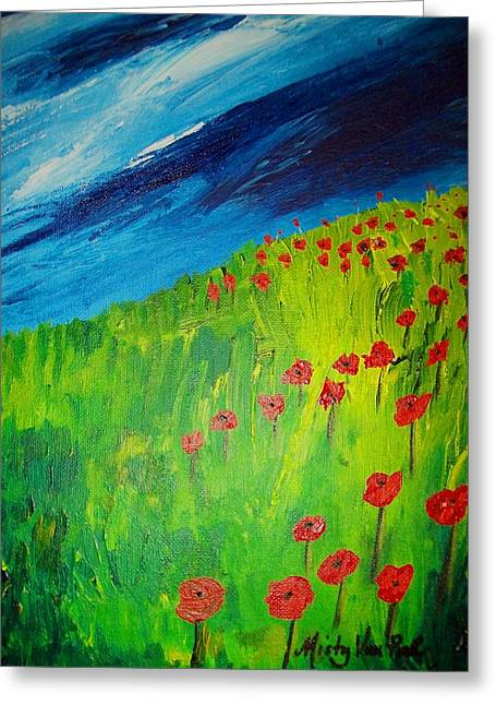 field of Poppies 2 Greeting Card by Misty VanPool