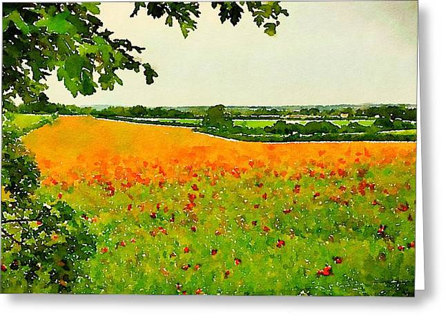 Field Of Poppies By John Springfield Greeting Card by Esoterica Art Agency