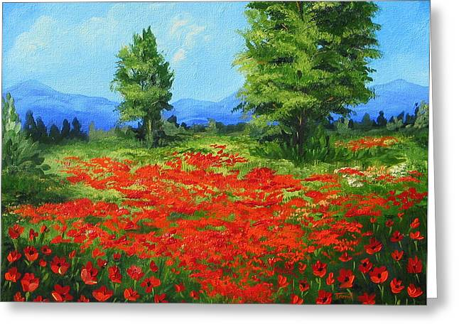 Field Of Poppies IIi Greeting Card