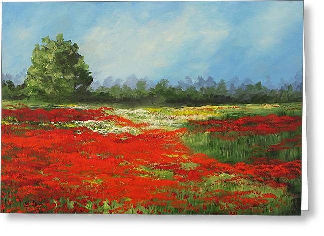 Field Of Poppies Viii Greeting Card