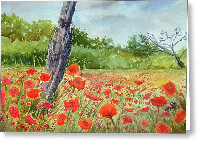 Field Of Red Flowers Greeting Card by Ron Stephens