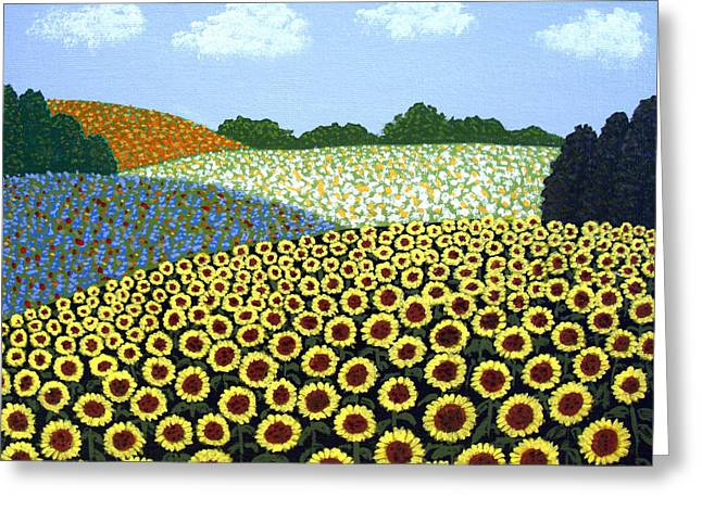 Clouds Greeting Cards - Field of Sunflowers Greeting Card by Frederic Kohli