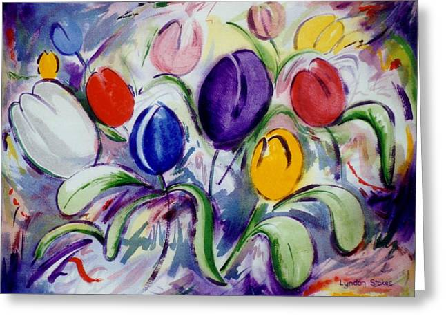 Field Of  Tulips Greeting Card by Lyndon Stokes