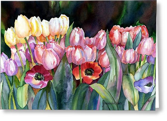 Field Of Tulips Greeting Card by Yolanda Koh